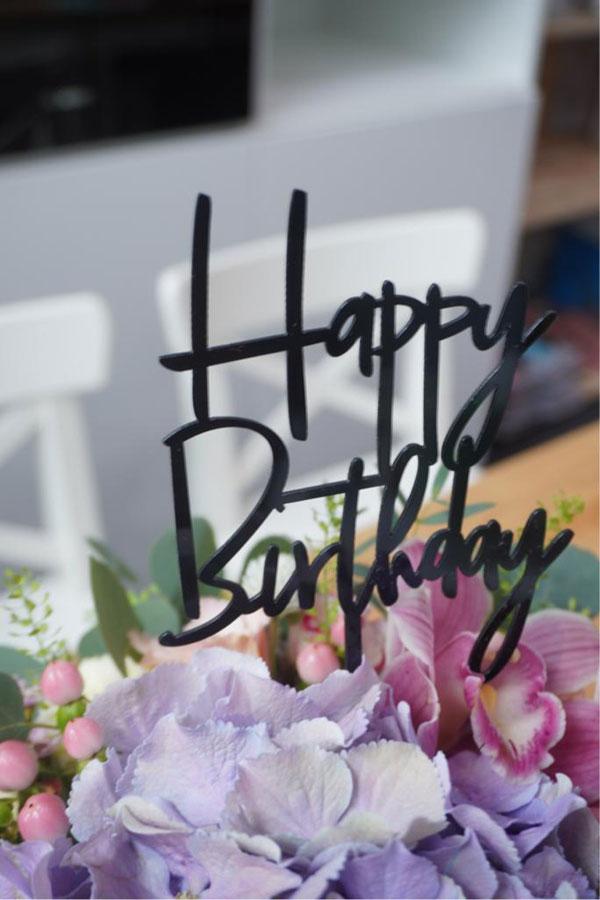 Happy Birthday Tag -  Black /Blush